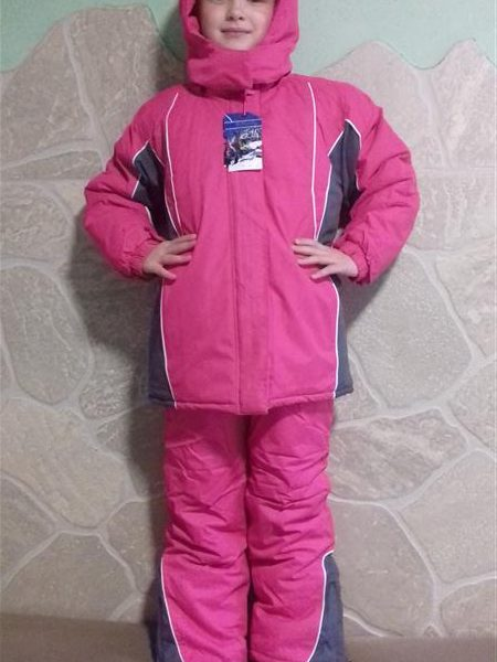 Lány Kétrészes Téli Overál Rózsaszín kantáros nadrág és kabát ... 9a73df1548