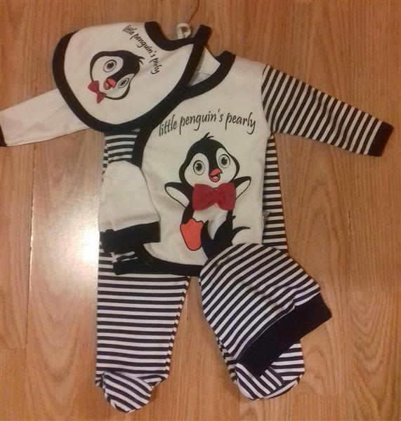 19632c498c Ötrészes babaruha szett pingvin mintával kisfiúknak – Rongyos Rozi ...