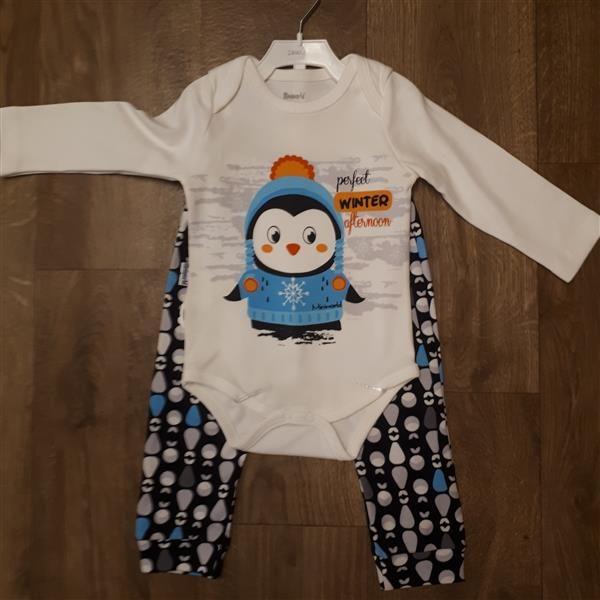 4c6023f8dd Baba együttes három részes body nadrág sapka pingvin – Rongyos Rozi ...