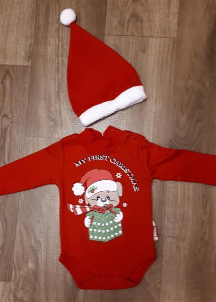 Baba együttes fiú lány body és sapka karácsonyi kutya mintával ... 7113b8a770