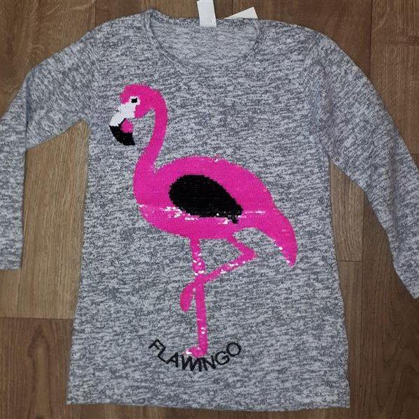 Vékony kötött tunika flitteres simogatós rózsaszín flamingó mintával ... 867df082f3