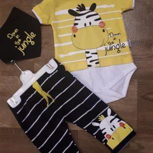 cb0afc8162 Babaruha szett rövid ujjú body nadrág kiskendő a nyakba zebra mintával