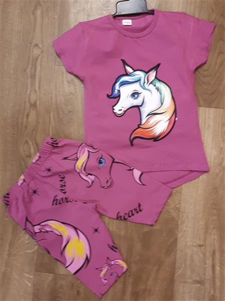 8d201d38d6 Pamut nyári két részes póló és rövid nadrág világítós unikornisos ...